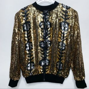 VINTAGE 1980s Jewel Queen Sequin Bomber Jacket L